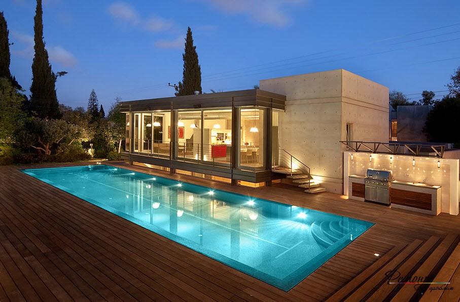 Освещение дома с плоской крышей