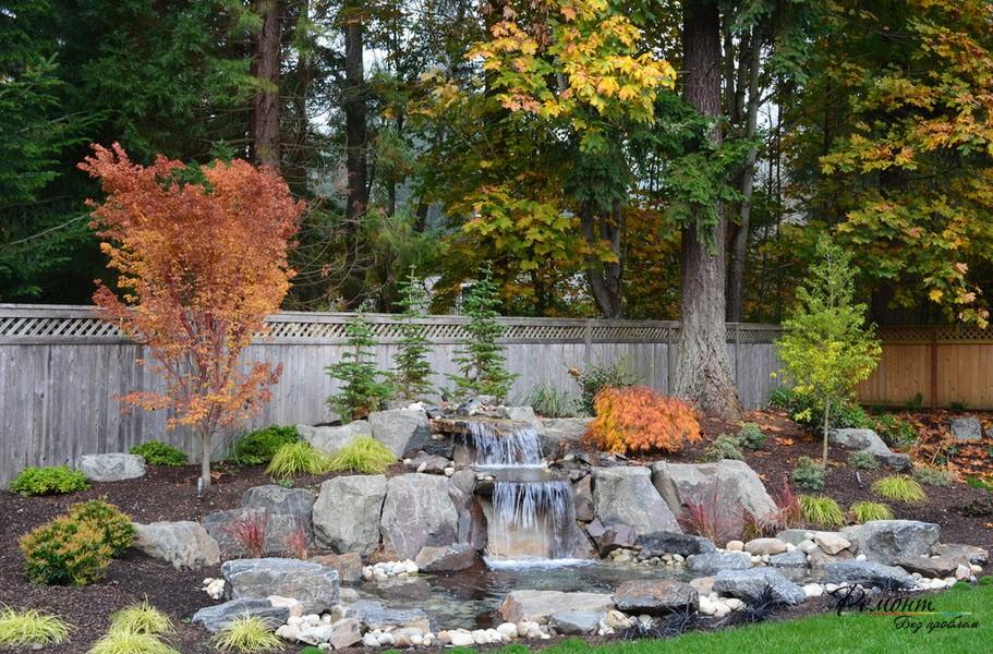 Водопад во дворе: стильные искусственные водоемы в ландшафтном дизайне на фото
