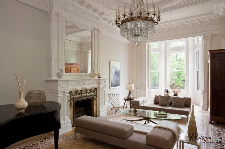 Интерьер и дизайн гостиной комнаты в классическом стиле на фото