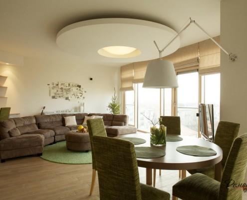 Дизайн стильной круглой гостиной