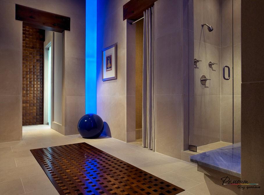 Оригинальная цветная подсветка в ванной комнате
