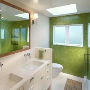 Яркий интерьер ванной комнаты при помощи сочетания белого с зеленым оттенками
