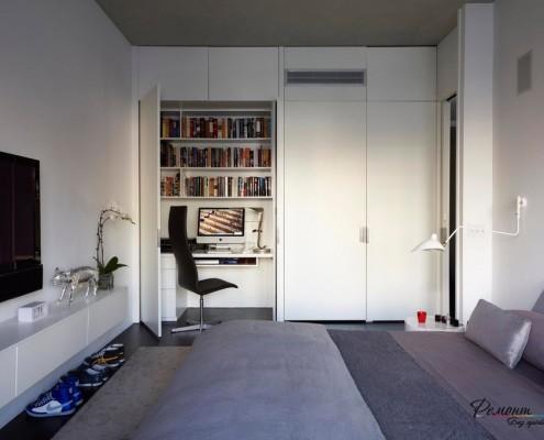 Белое оформление спальной комнаты