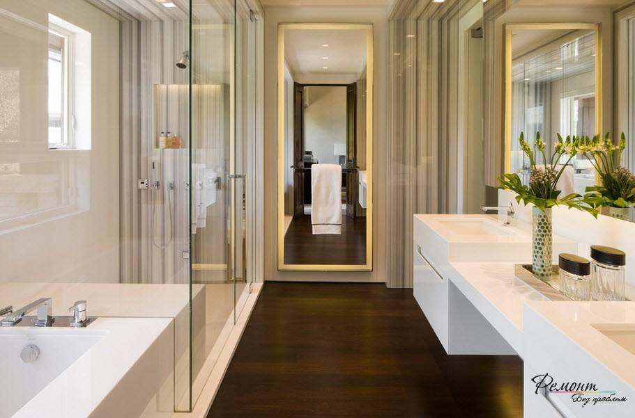 Установленная подсветка должна соответствовать общему дизайну ванной комнаты