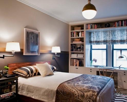 Круглый плафон в спальне