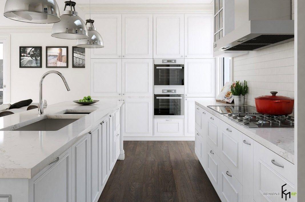 Белоснежный дизайн для небольшой кухни
