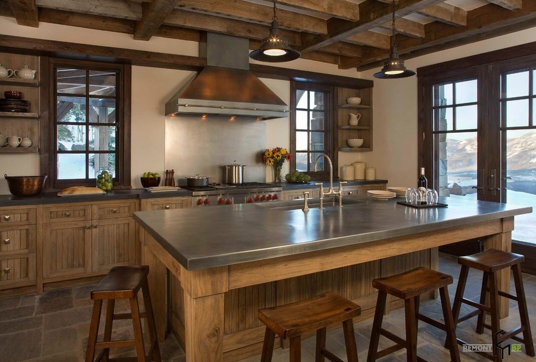 Темная древесина для кухни