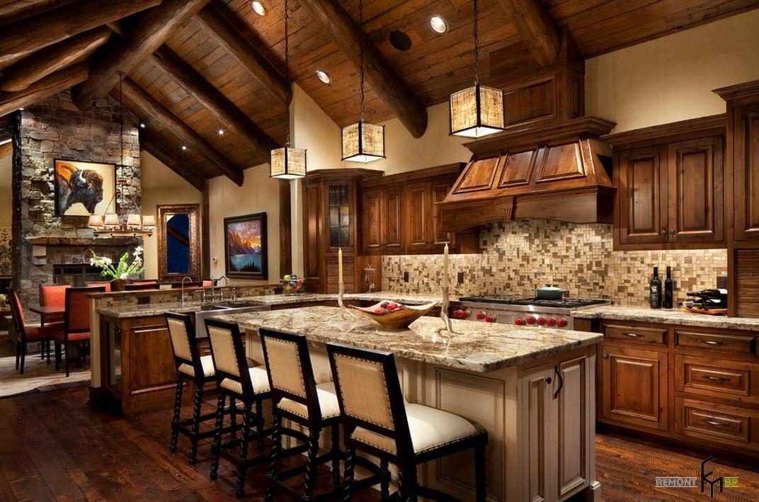 Разные породы древесины в одной кухне