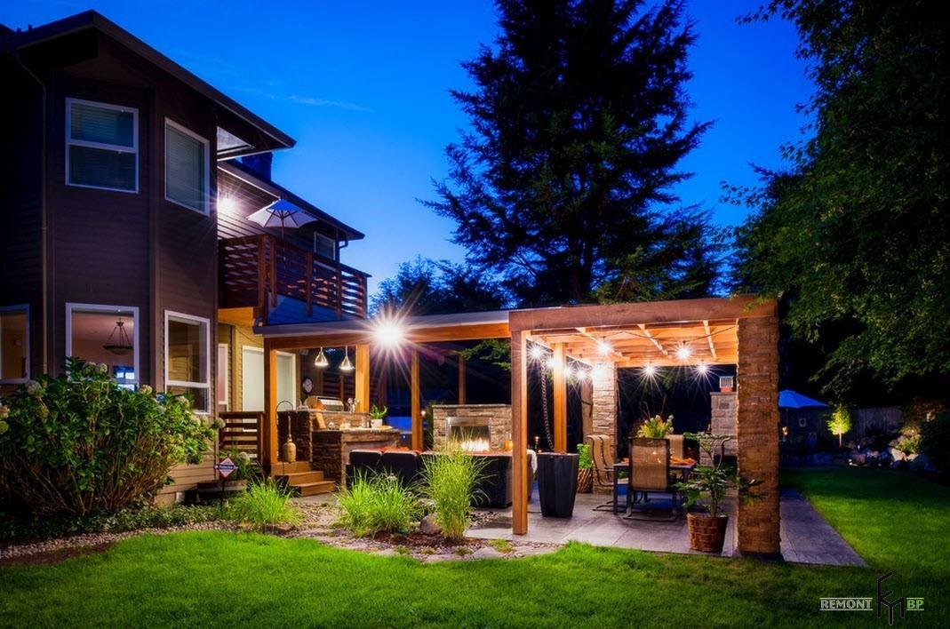 Летняя кухня на заднем дворе