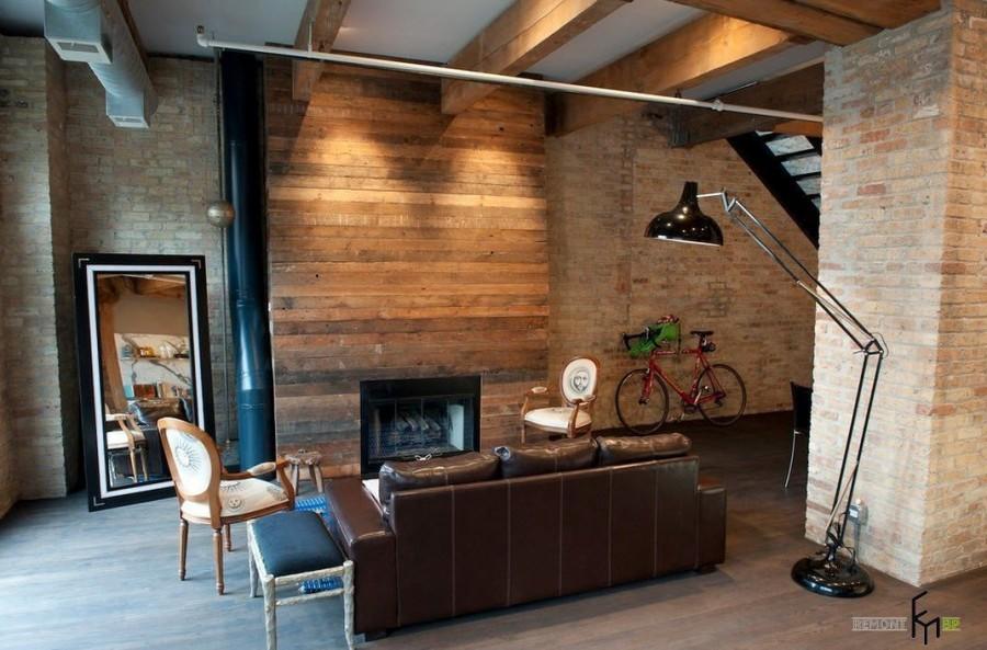 Интерьер деревянного дома в стиле лофт фото