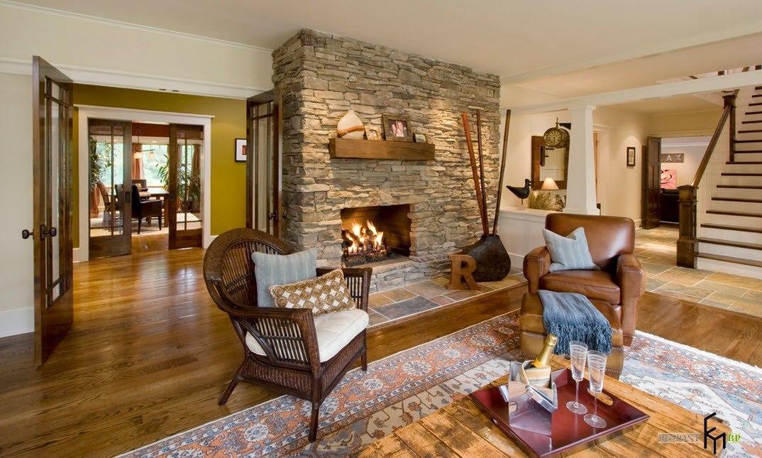 Дизайн комнаты с камином в квартире