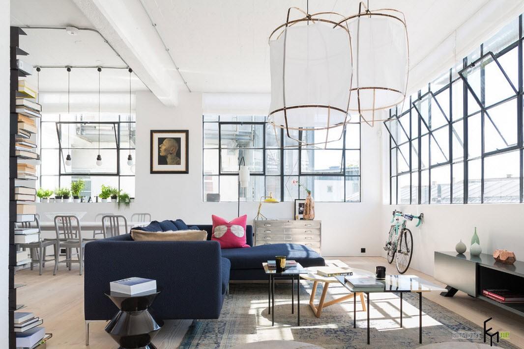 Красивый дизайн проект квартиры в стиле Лофт на фото