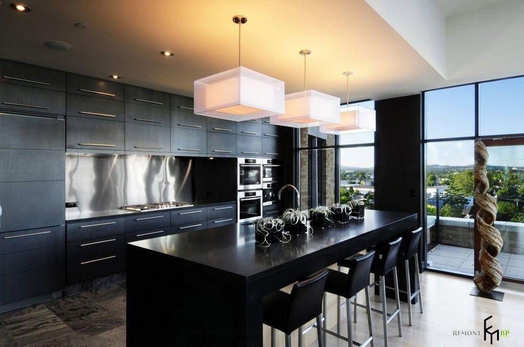 Черный кухонный остров