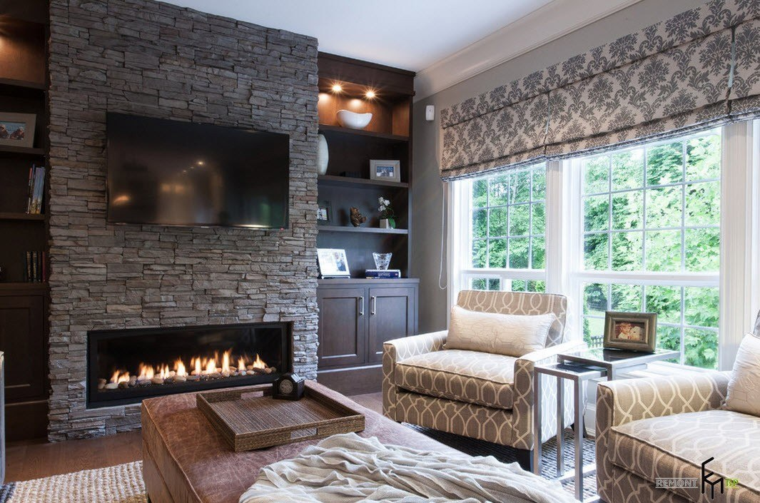 100 - Great home interior and exterior decoration with white stone fireplace ...