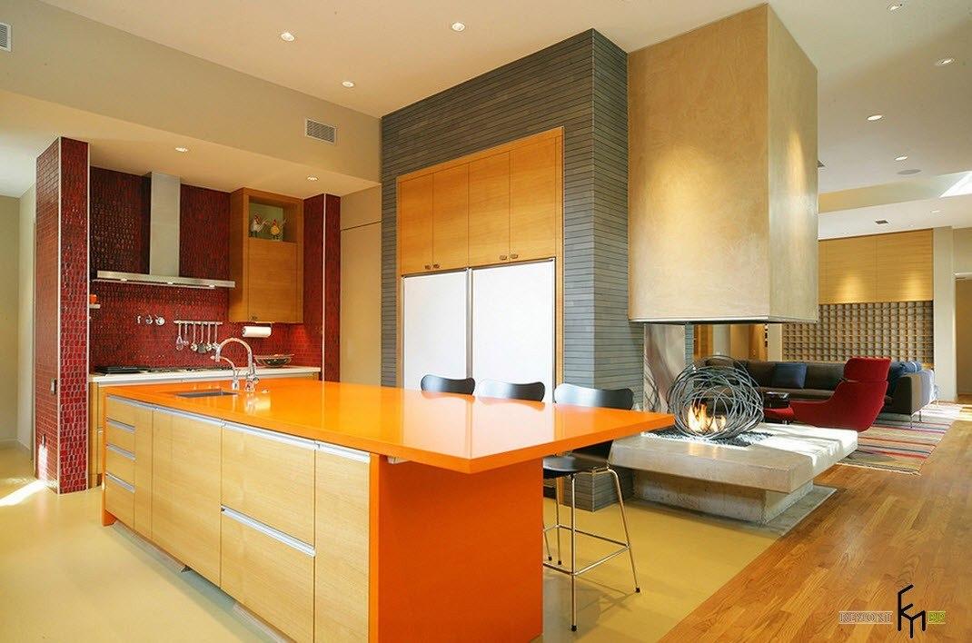Очаг в стиле модерн для кухни и гостиной