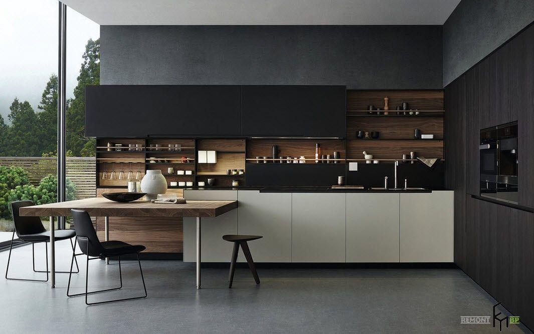 Черные тона в дизайне кухни
