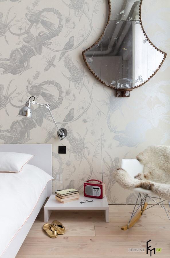 Оформление белой спальни в стиле лофт