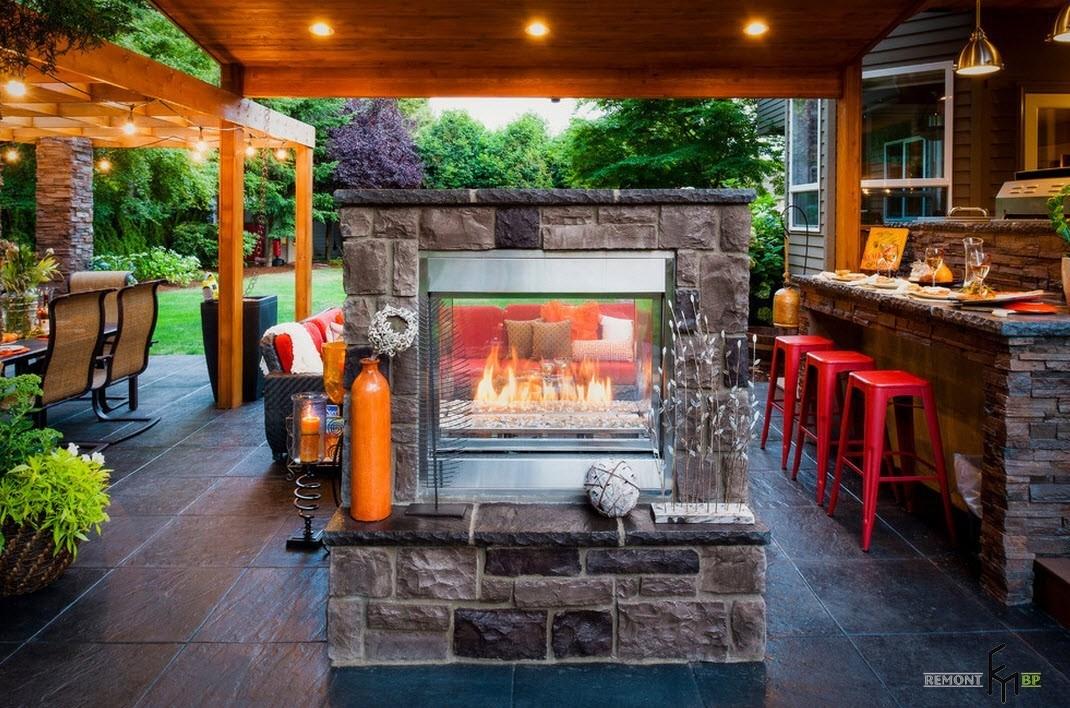 Летняя кухня с камином фото своими руками 32