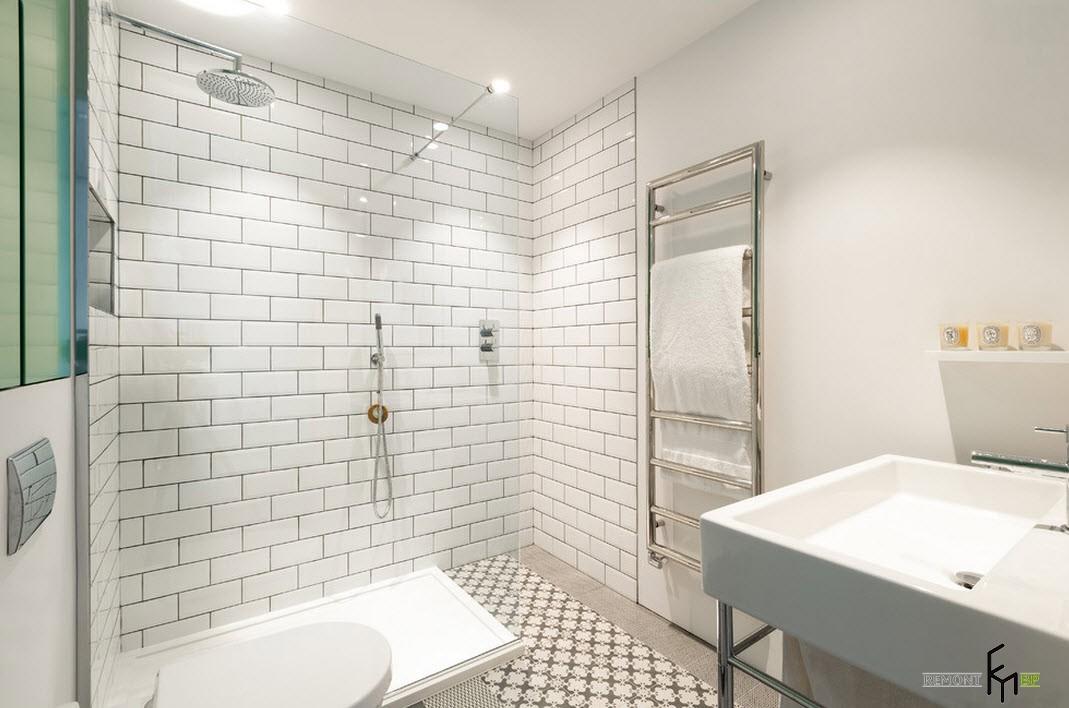 Белая ванная комната в стиле лофт