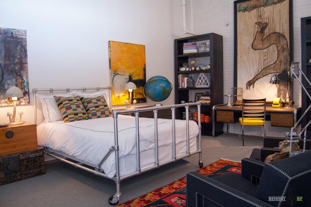 Металлическая кровать в стиле лофт