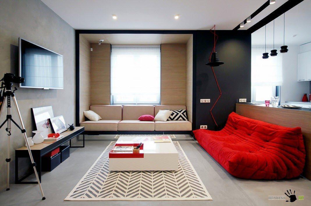 Бело-черно-красный интерьер
