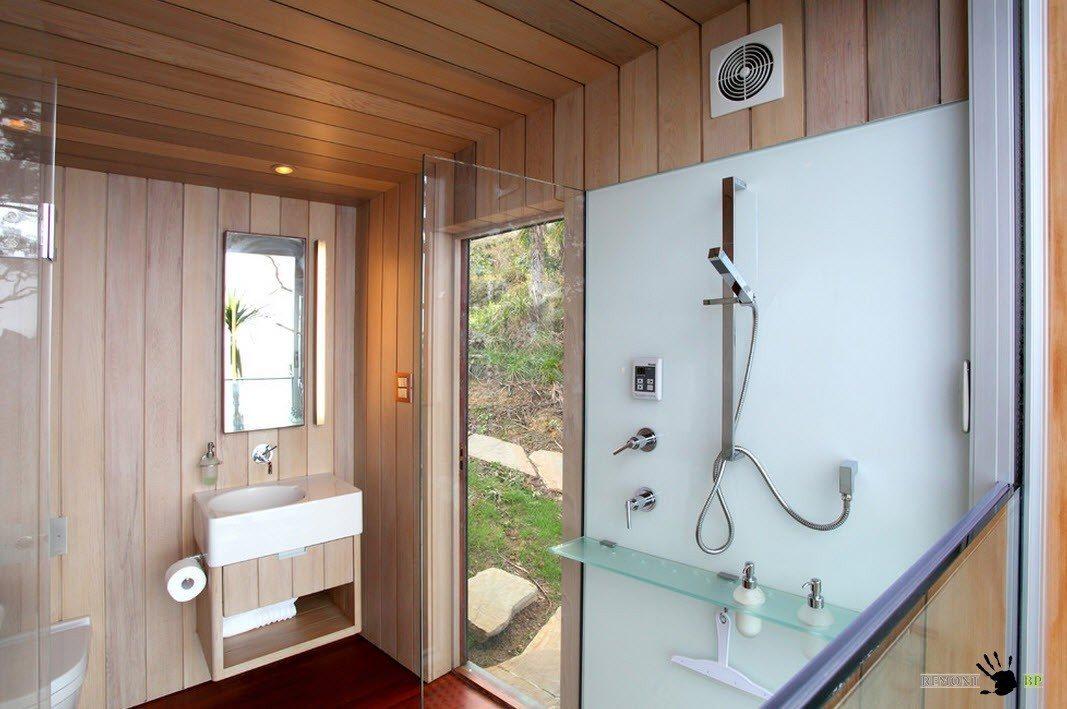 Оборудование деревянной ванной комнаты