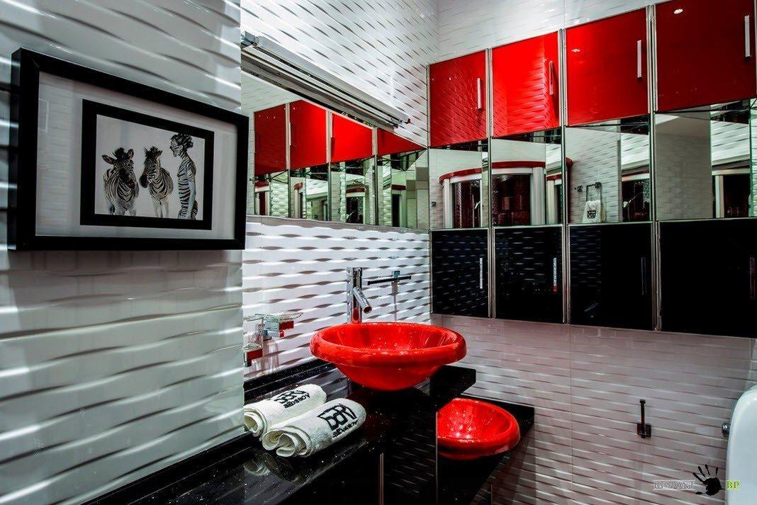 Ванная в сочетании красного, черного и белого