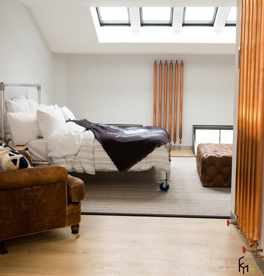 Стиль лофт в интерьере современной спальни на фото