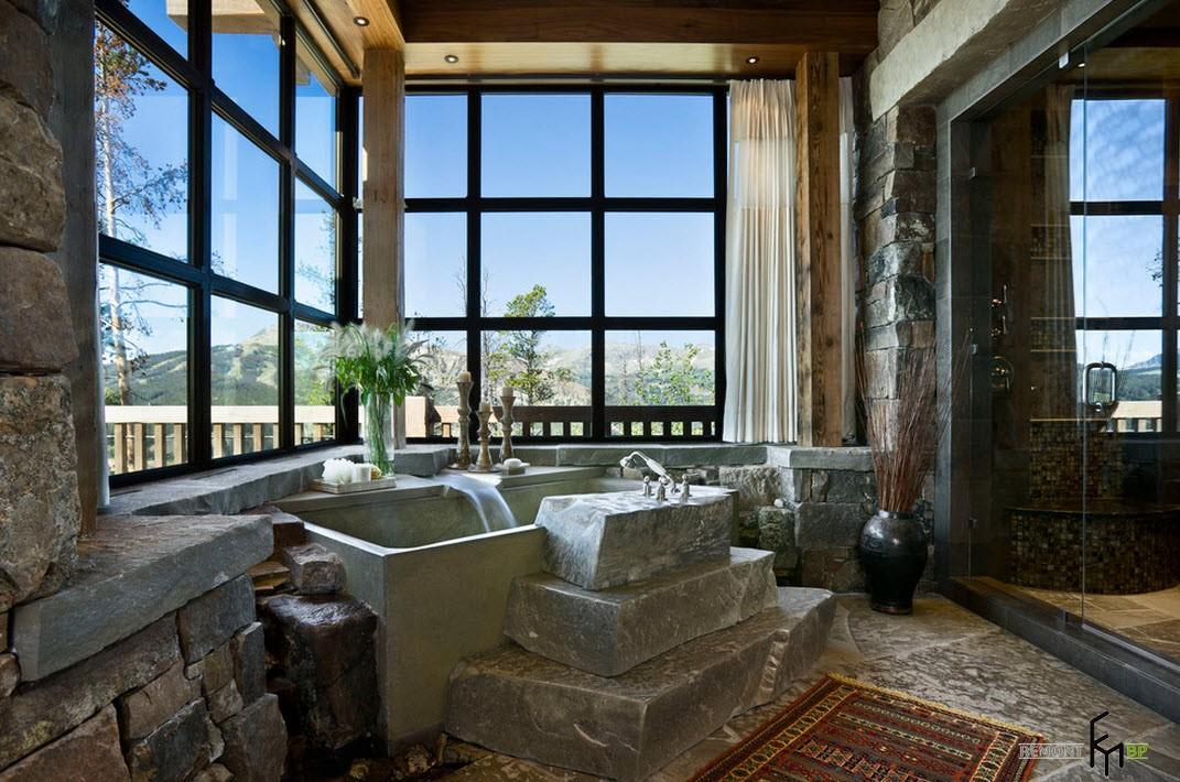Огромные окна в интерьере ванной
