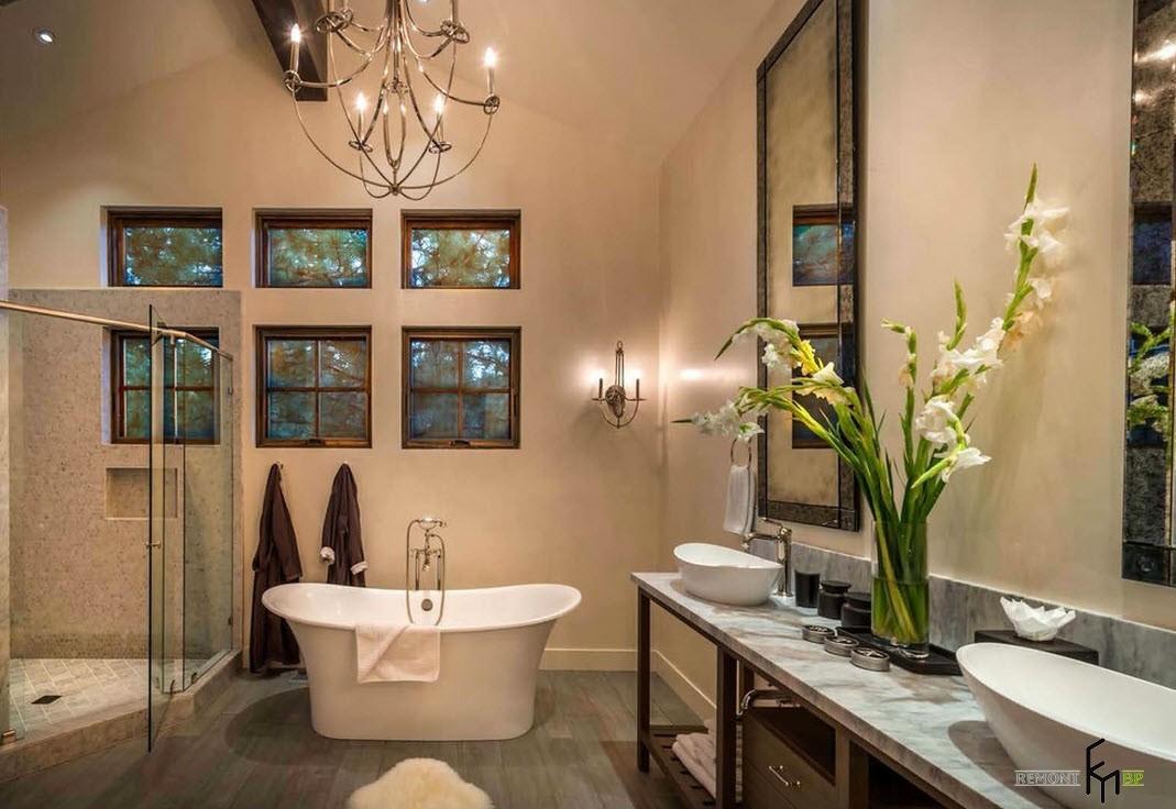 Живые цветы в интерьере ванной