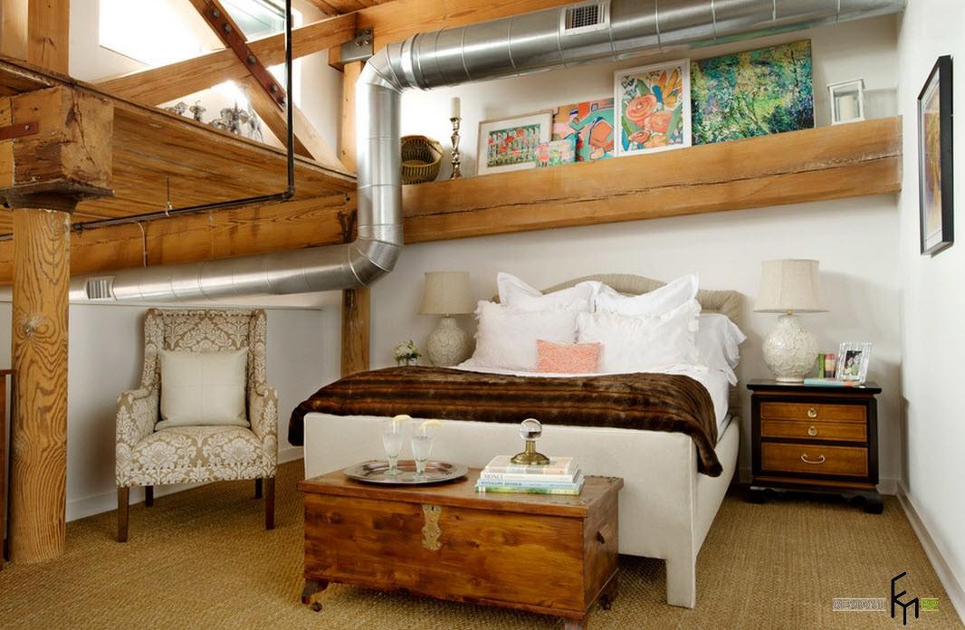 Двухъярусная спальня в стиле лофт