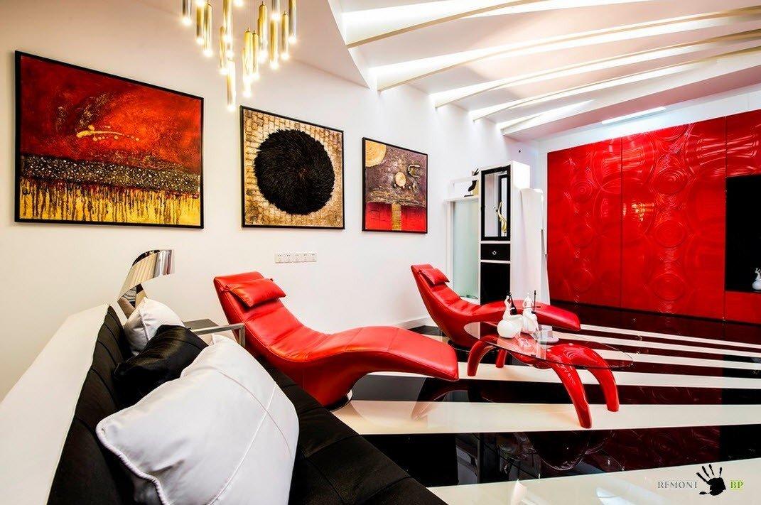 Красный кожаный мебельный гарнитур с журнальным столиком