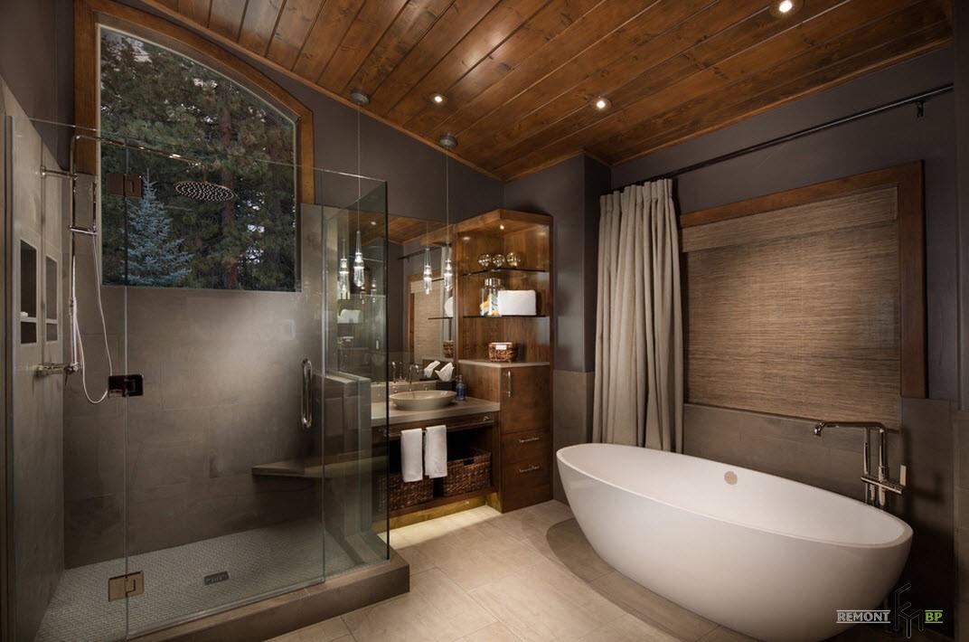 Овальная ванна в современной ванной