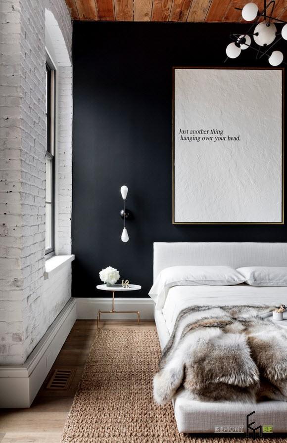 Контраст белого и черного в спальне