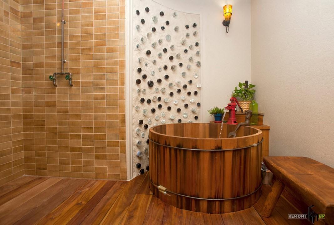 Ванна в деревенском стиле