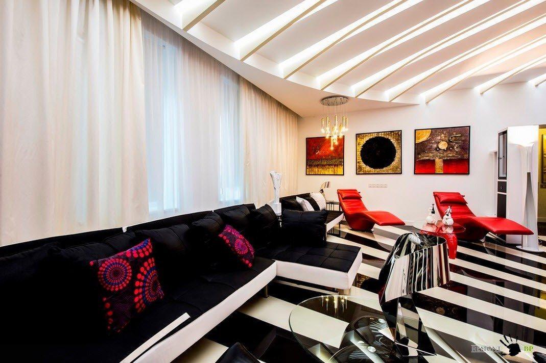 Мягкая мебель для гостиной в черно-белых цветах