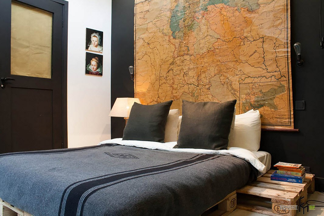 Черный текстиль в интерьере спальни