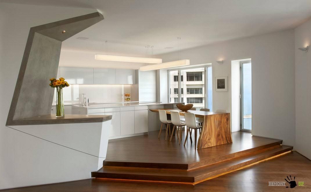 Кухонная зона на возвышенности