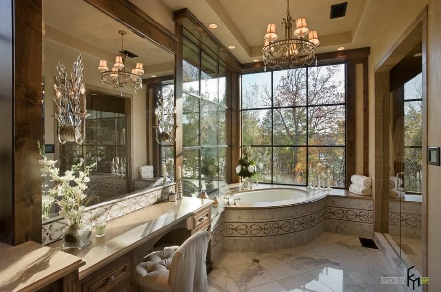 Декор ванны деревом 175