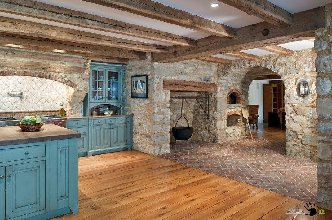 Кухня с каменной печью
