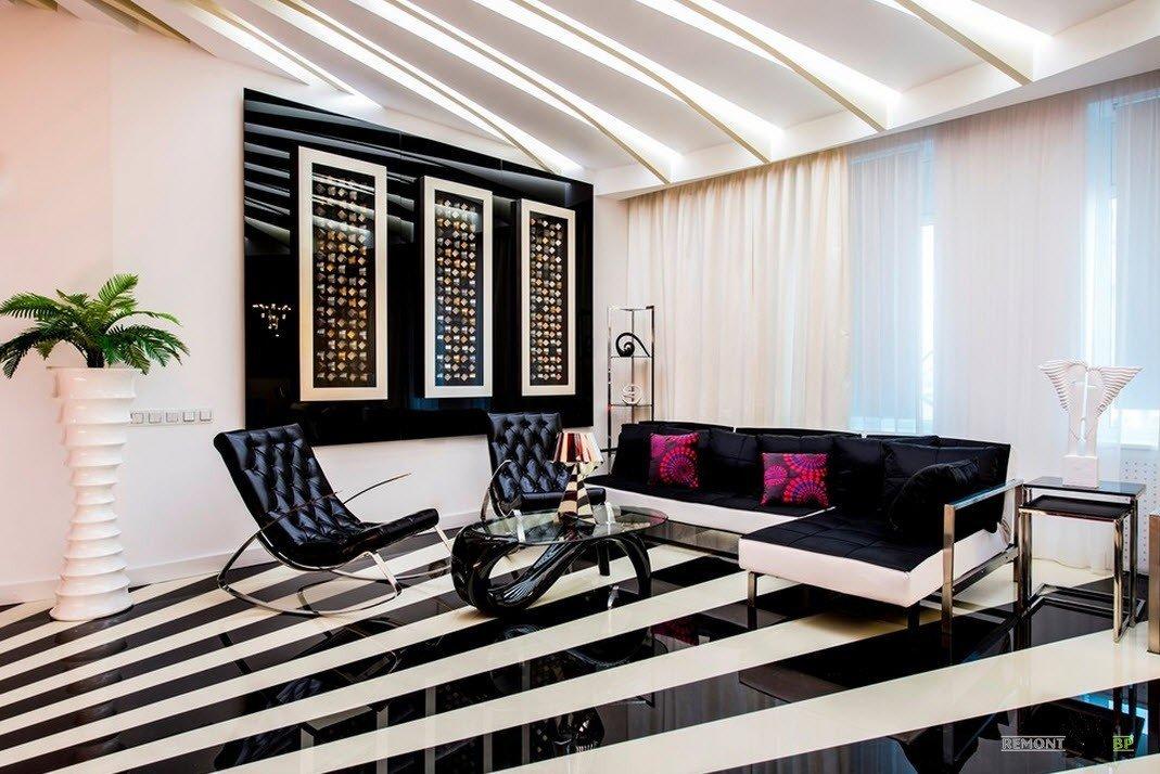 Контраст черного и белого в гостиной