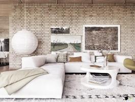 Интерьер гостиной в белых тонах