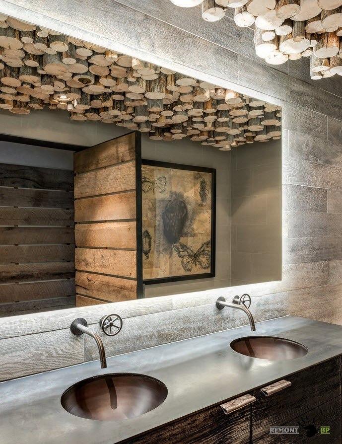 Необычное применение деревянных элементов на потолке