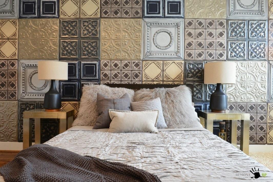 Плитка на стене спальни