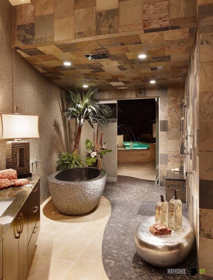 Оригинальное оформление потолка в ванной