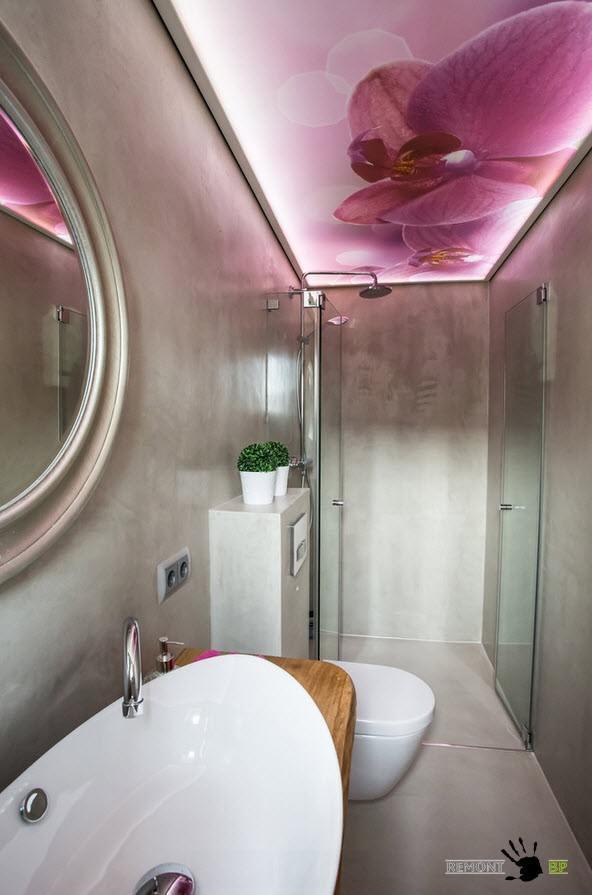 оригинальная картина на потолке в ванной