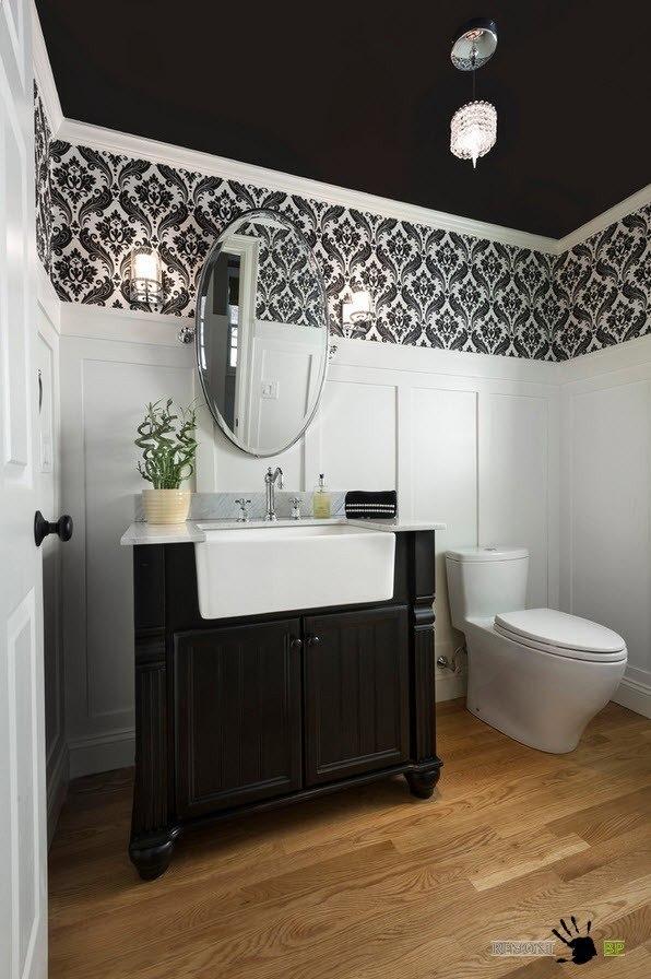 Контраст черного и белого в ванной