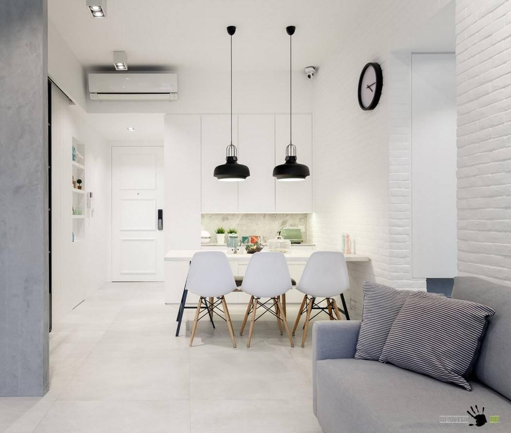 Белоснежная отделка кухни и гостиной