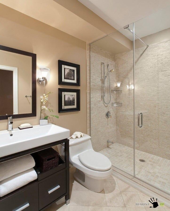 Сочетание постельных тонов в ванной
