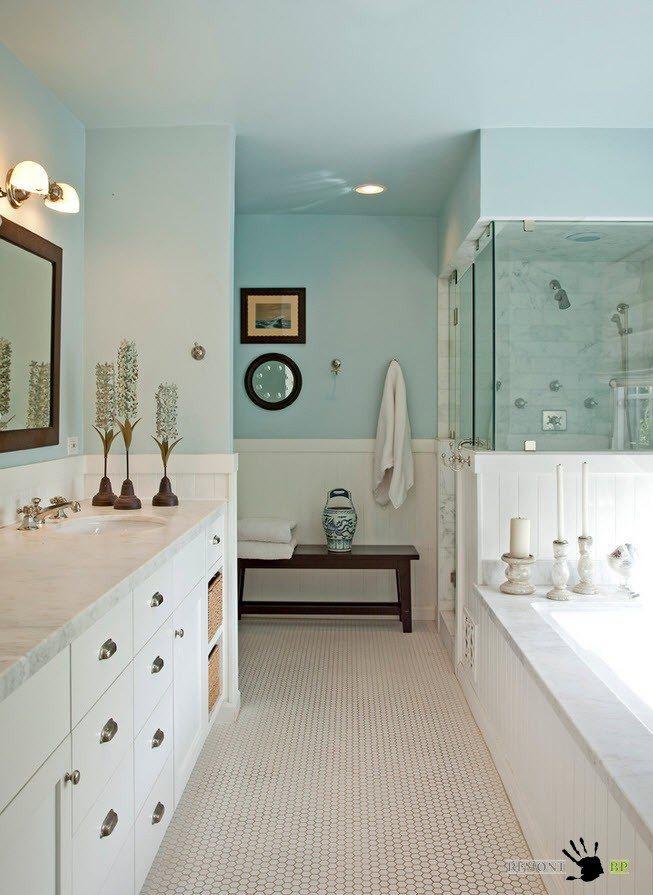Потолок в цвет со стенами ванной